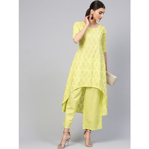 Libas Women Green & Golden Block Print Kurta with Palazzos