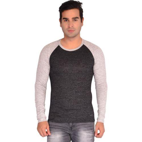 Jade Self Design Men Round Neck Grey T-Shirt