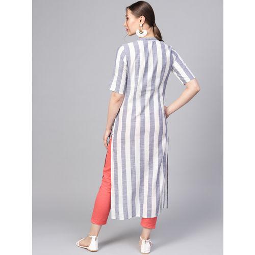 Jaipur Kurti Women White & Blue Striped Straight Kurta