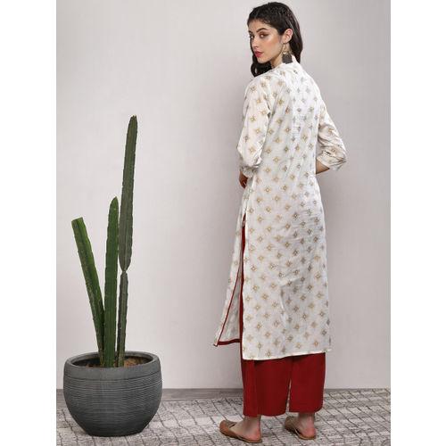 Sangria Women Off-White Printed Kurta with Maroon Palazzos