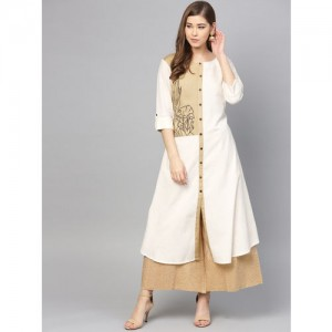 Varanga Women Off-White & Beige Colourblocked A-Line Kurta