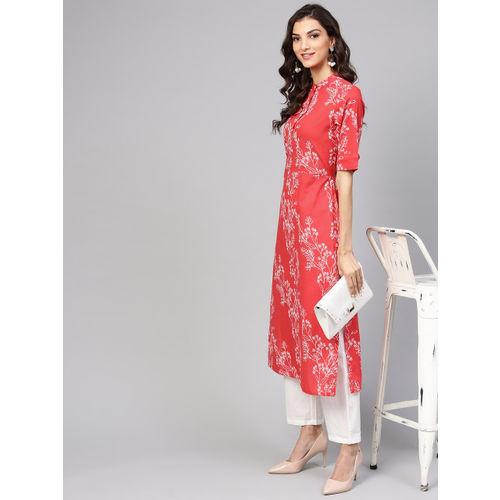 Nayo Women Red & White Printed Kurta with Trousers