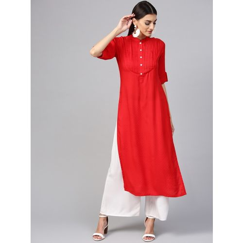 Libas Women Printed Straight Kurta(Red)