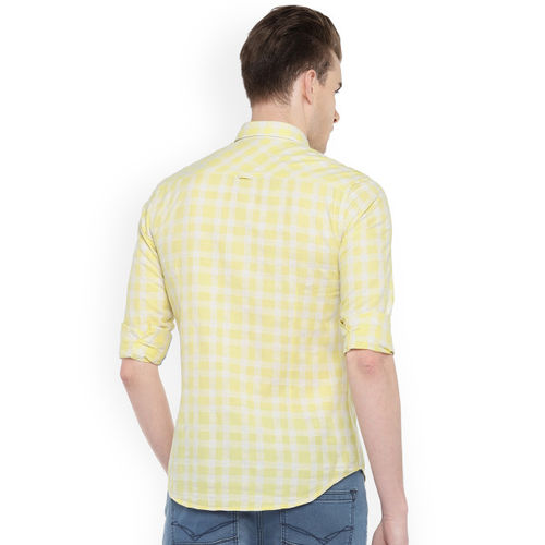 Killer Men Yellow Slim Fit Checked Casual Shirt