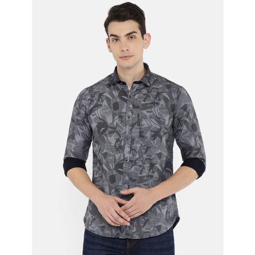 Killer Men Navy & Grey Slim Fit Self-design Casual Shirt