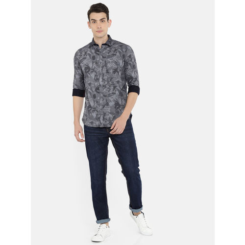 Killer Men Navy & Grey Slim Fit Self-design Casual Shirt