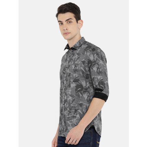 Killer Men Black & Grey Regular Fit Self-Design Casual Shirt