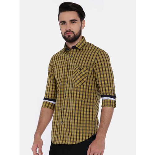 Killer Men Yellow & Navy Blue Slim Fit Checked Casual Shirt