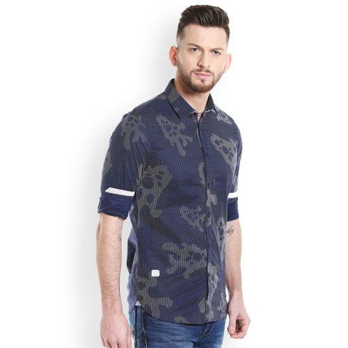 Killer Blue Printed Slim Fit Shirt