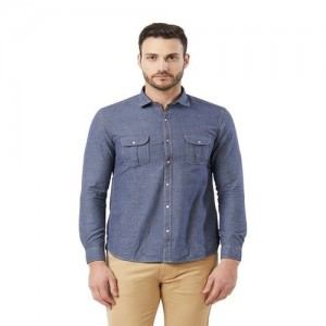 Killer Navy Full Sleeves Slim Fit Cotton Shirt