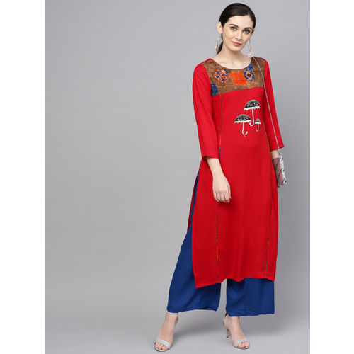ANAISA Women Red & Blue Yoke Design Kurta with Palazzos
