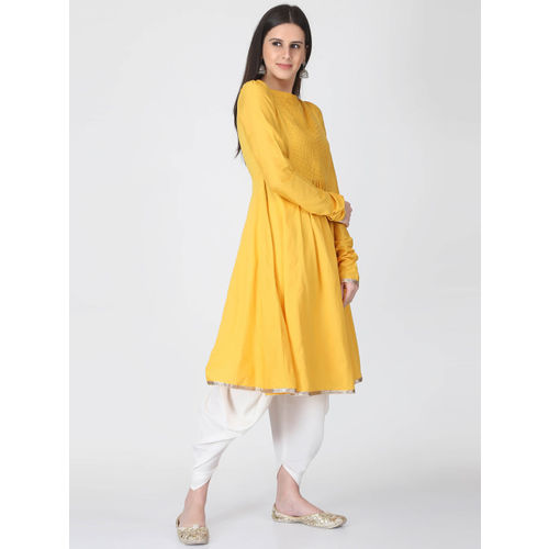 Abhishti Women Yellow Solid Anarkali Kurta