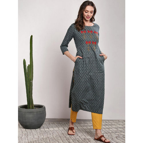 Sangria Women Grey Printed Straight Kurta