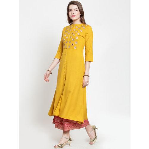 Varanga Women Mustard Yellow & Pink Yoke Design Kurta with Palazzos