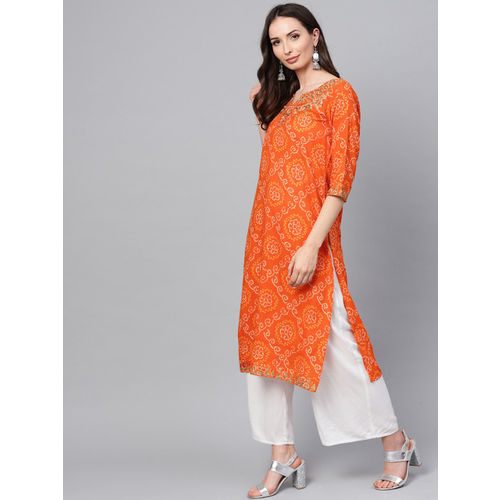 ANAISA Women Orange Embroidered Straight Kurta