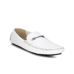 Get Glamr Kelson Horsebit White Loafers