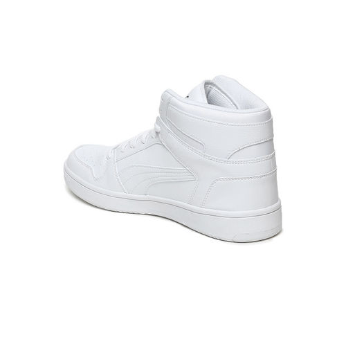 Puma Men White Rebound LayUp SL Leather Mid-Top Sneakers