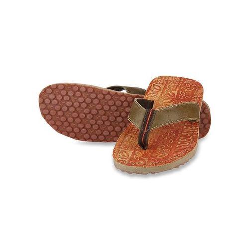 Woodland Camel & Tan Flip Flops