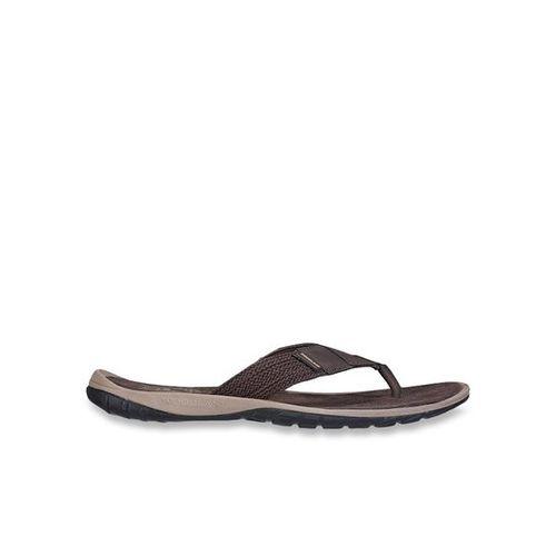 Woodland Dark Brown & Beige Flip Flops