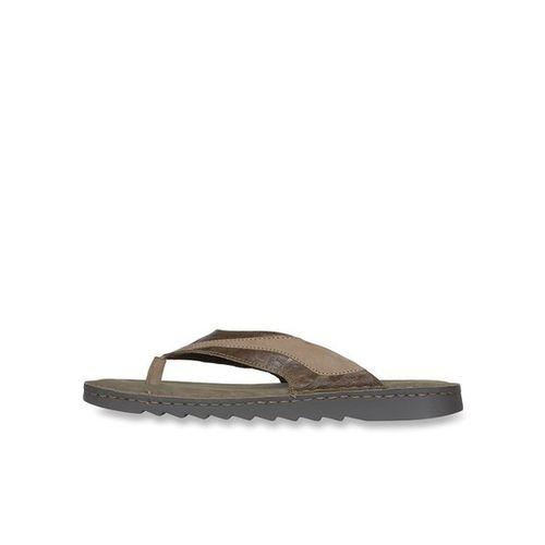 Woodland Khaki & Brown Flip Flops