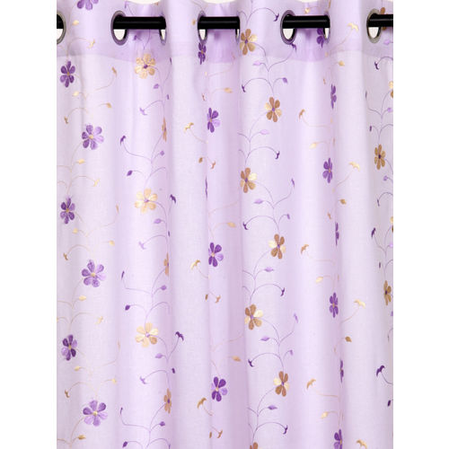 Cortina Set of 2 Lavender Semi-Sheer Embroidered Faux Linen Door Curtains