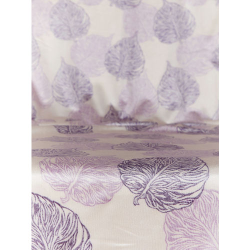 Cortina Set of 2 Off-White & Purple Leaf Print Room Darkening Door Curtains