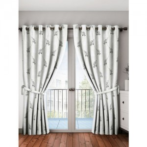 Cortina White & Black Set of 2 Long Door Curtains