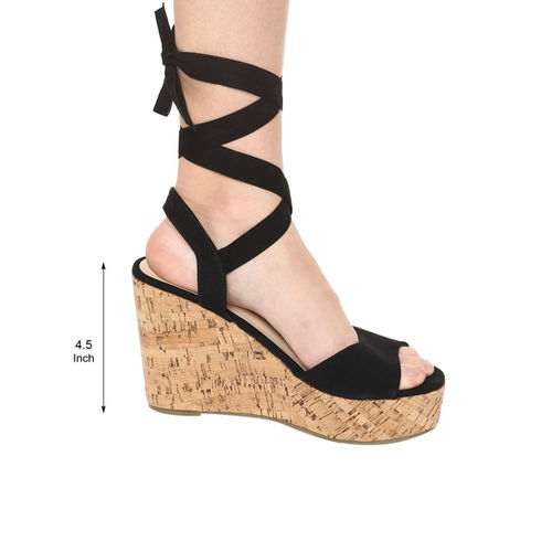 Truffle Collection Black Lace-Up Wedges
