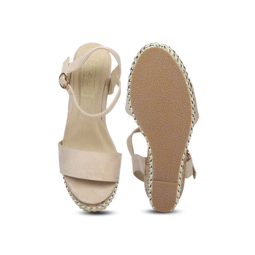 Truffle Collection Women Skin Color-Coloured Solid Wedges