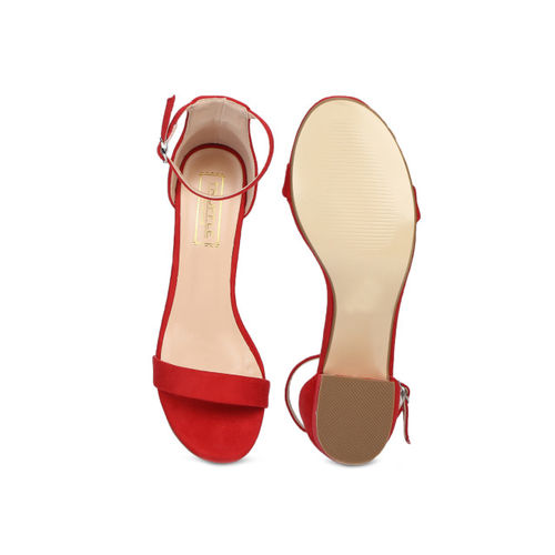 Truffle Collection Women Red Solid Sandals