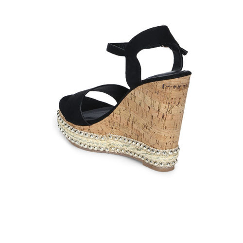 Truffle Collection Women Black Solid Wedges