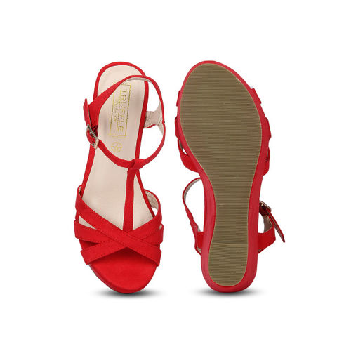 Truffle Collection Red Synthetic Solid Sandals