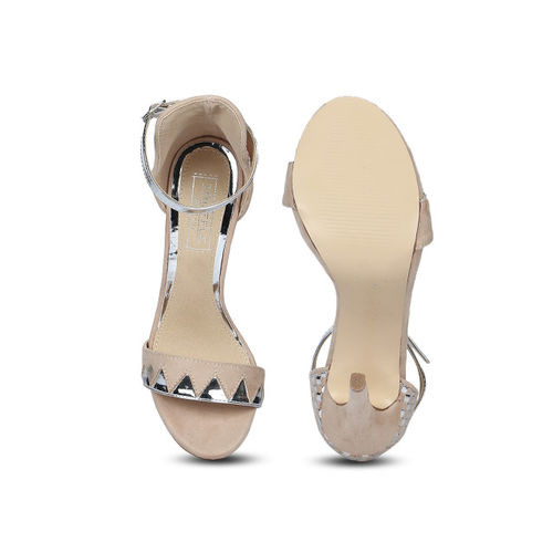 Truffle Collection Women Skin Colour & Silver Embellished Heels
