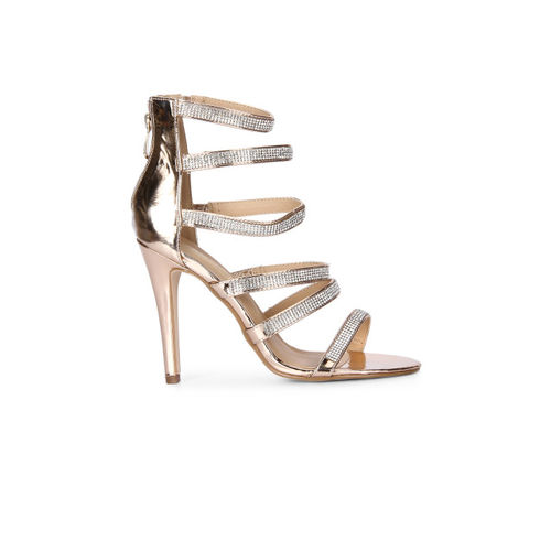 Truffle Collection Women Rose Gold Solid Sandals