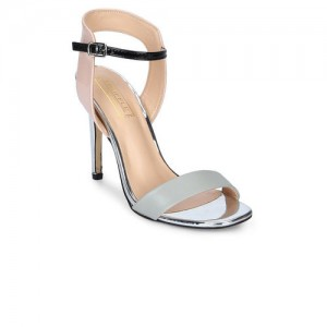 Truffle Collection Grey & Skin Colour Colourblocked Heels