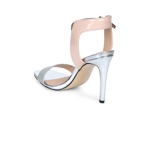 Truffle Collection Grey & Skin Colour Colourblocked Heels