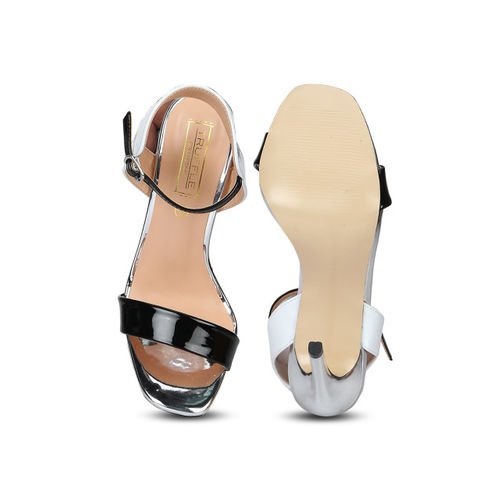 Truffle Collection Women Black & White Colourblocked Heels