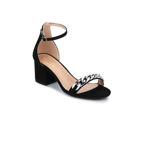 Truffle Collection Women Black Embellished Heels