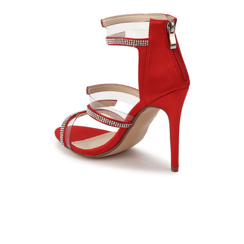 Truffle Collection Women Red Embellished Sandals