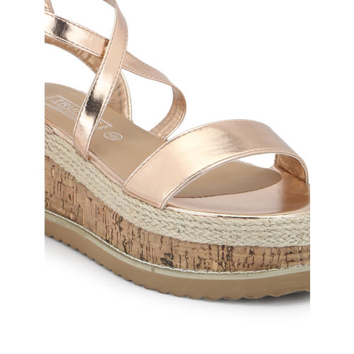 Truffle Collection Women Rose Gold-Toned Solid Sandals