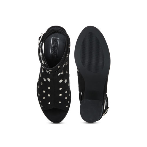Truffle Collection Black Embellished Sandals