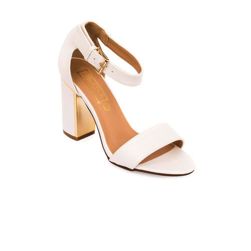 Truffle Collection Women White Solid Heels