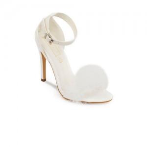 Truffle Collection Women White Solid Pom-Pom Stilettos