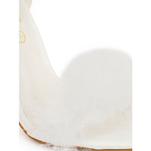 Truffle Collection Women White Solid Pom-Pom Stilettos