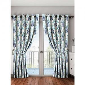 Cortina 2 Piece Eyelet Polyester Window Curtain Set - 5ft, Blue