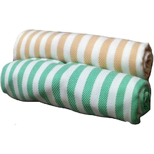 Cotton Colors Cotton 300 GSM Bath Towel Set(Pack of 2, Green, Yellow)