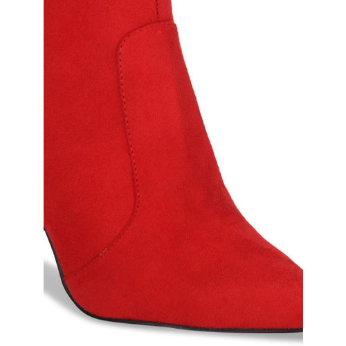 Truffle Collection Women Red Solid Heeled Boots