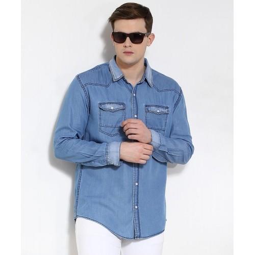 a291f8190b Buy Yepme Refner Ice Wash Blue Denim Shirt online