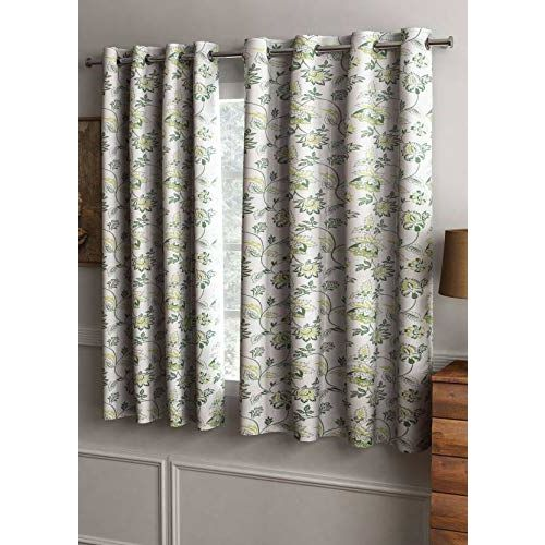 Cortina Floral Design 2 Piece Polyester Window Curtain Set - 5ft, Multicolour