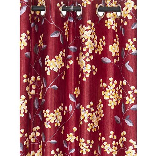 Cortina Floral Design 2 Piece Polyester Door Curtain Set - 7ft, Multicolour